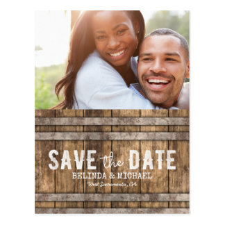 Winery Wedding Save the Date Rustic Wooden Barrel Postcard