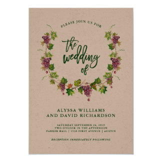 Winery Wedding with Rustic Typography | Kraft Card