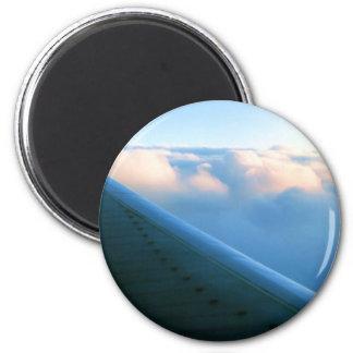 Wing Slices Thru Clouds 6 Cm Round Magnet