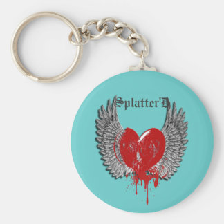 WING SPLATTERED KEY  CHAIN BASIC ROUND BUTTON KEY RING