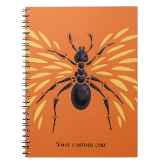 Winged Ant Insect Lover Fiery Orange Custom Text Notebook