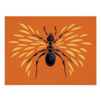 Winged Ant Insect Lover Fiery Orange Entomology Poster
