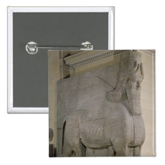 Winged bull at a facade of King Sargon II s Pinback Buttons