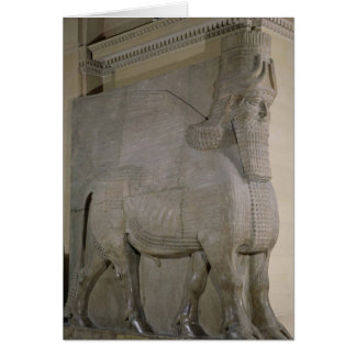 Winged bull at a facade of King Sargon II's Greeting Card