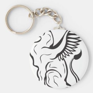 Winged Cat creature Basic Round Button Key Ring