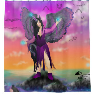 Winged Cat Fairy Elf Girl Unicorn Horn Magic Spell Shower Curtain