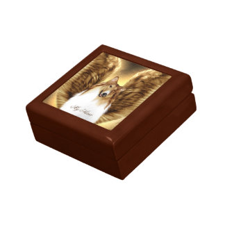 Winged Collie Angel Portrait on Gold Gift Box