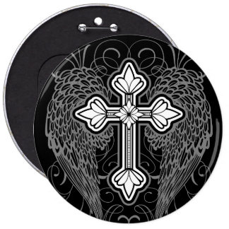 Winged Cross Button