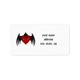 Winged cute gothic vampire heart address label