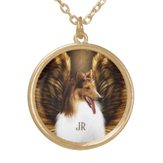 Winged Dark Sable Collie Angel on Gold Gold Plated Necklace