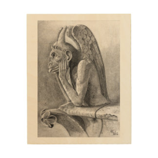 Winged Demon Gargoyle Wood Print