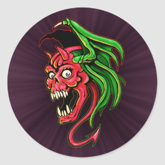 Winged Devil Skull Design Round Sticker
