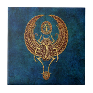 Winged Egyptian Scarab Beetle with Ankh - blue Small Square Tile