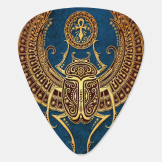 Winged Egyptian Scarab Beetle with Ankh on Blue Guitar Pick