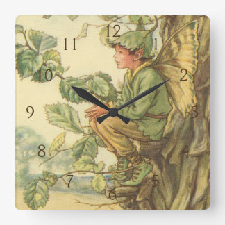 Winged Elm Fairy Sitting in a Tree Square Wall Clock