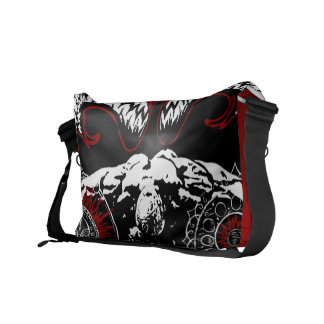 Winged fallen angel with hand messenger bag