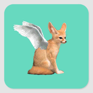 Winged Fennec Fox Square Sticker