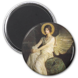Winged Figure Seated Upon a Rock by Abbott Thayer Magnet
