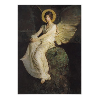 Winged Figure Seated Upon a Rock by Abbott Thayer Poster