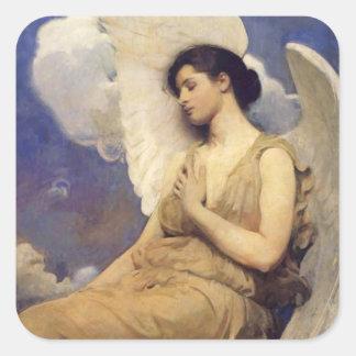 Winged Figure Vintage Angel Square Sticker