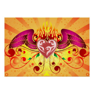 Winged Flaming Heart Posters
