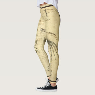 Winged Flying Machine Sketch by Leonardo da Vinci Leggings