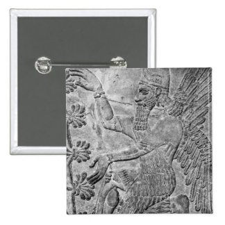 Winged Genie Worshipping the Sacred Tree 15 Cm Square Badge