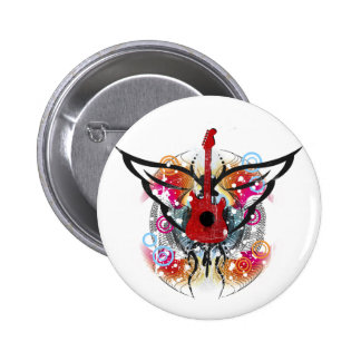Winged Guitar 6 Cm Round Badge