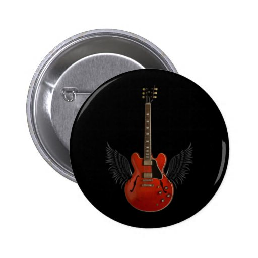 Winged Guitar Button