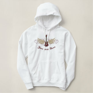 Winged Guitar Embroidered Hoodies