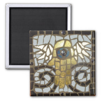 Winged Hamsa Gold with Blue Eye Square Magnet