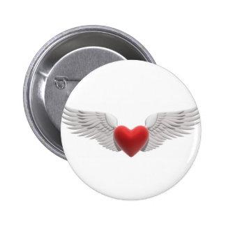 Winged Heart 6 Cm Round Badge