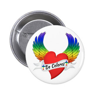 Winged Heart DeColores Palanca Button Pin