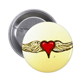 WINGED HEART PRINT by jill 6 Cm Round Badge