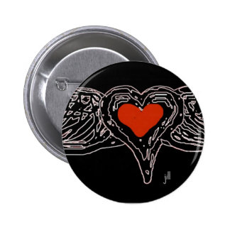 WINGED HEART RED ON WHITE by jill 6 Cm Round Badge