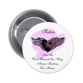 Winged Heart Sisters Button