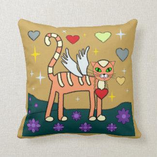 Winged Kitty with Heart Custom American MoJo Pillo Cushions