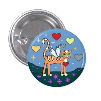 Winged Kitty with Heart Custom  Button