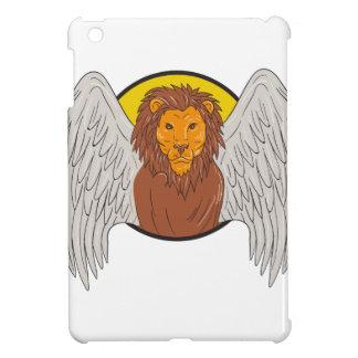 Winged Lion Head Circle Drawing iPad Mini Case
