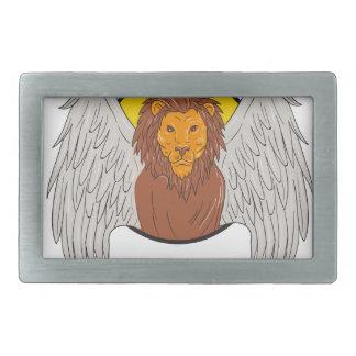 Winged Lion Head Circle Drawing Rectangular Belt Buckle