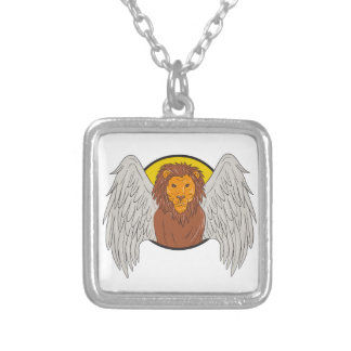Winged Lion Head Circle Drawing Silver Plated Necklace