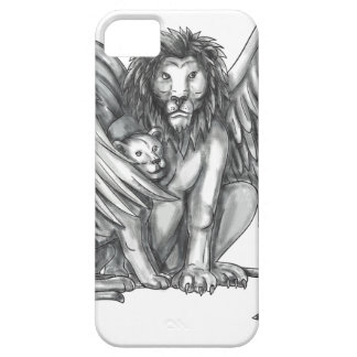 Winged Lion Protecting Cub Tattoo Barely There iPhone 5 Case