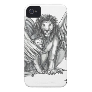 Winged Lion Protecting Cub Tattoo Case-Mate iPhone 4 Case