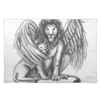 Winged Lion Protecting Cub Tattoo Placemat