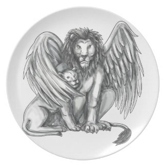 Winged Lion Protecting Cub Tattoo Plate