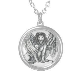 Winged Lion Protecting Cub Tattoo Silver Plated Necklace