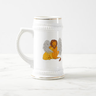 Winged Lion With Cub Under Its Wing Drawing Beer Stein