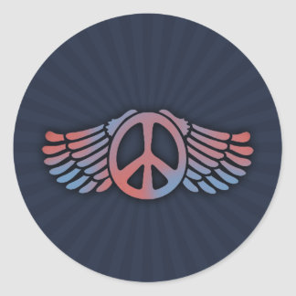Winged Peace Round Sticker