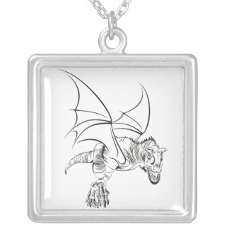 Winged Raptor / Tribal Silver Plated Necklace