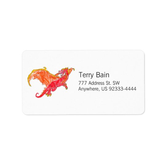 Winged Red Dragon Address Label